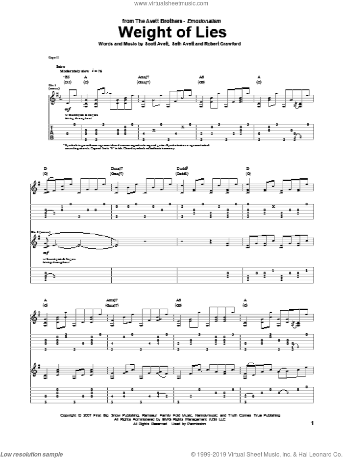 Weight Of Lies sheet music for guitar (tablature) by Seth Avett. Score Image Preview.