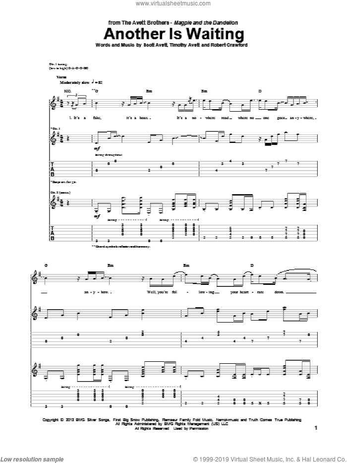 Another Is Waiting sheet music for guitar (tablature) by Timothy Avett. Score Image Preview.