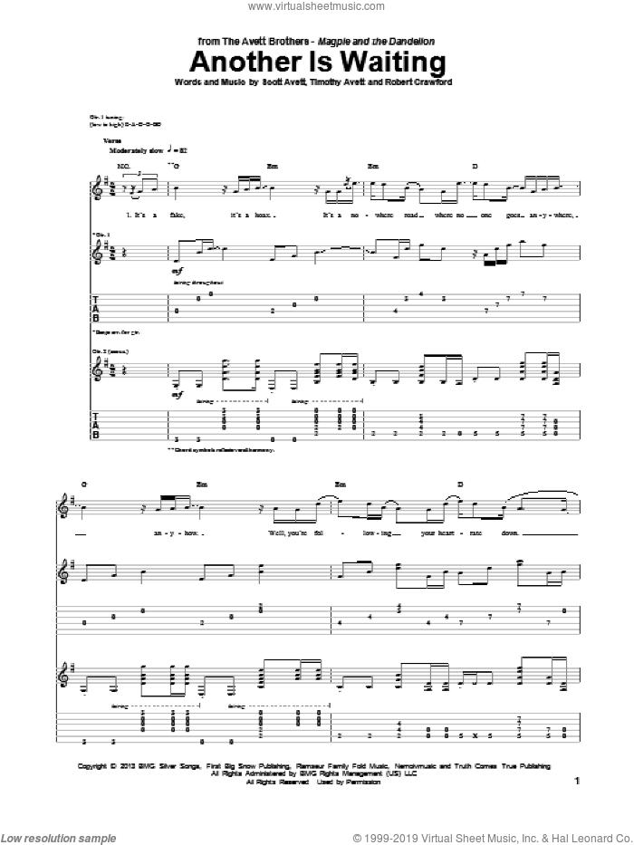 Another Is Waiting sheet music for guitar (tablature) by Avett Brothers, The Avett Brothers, Robert Crawford, Scott Avett and Timothy Avett, intermediate skill level