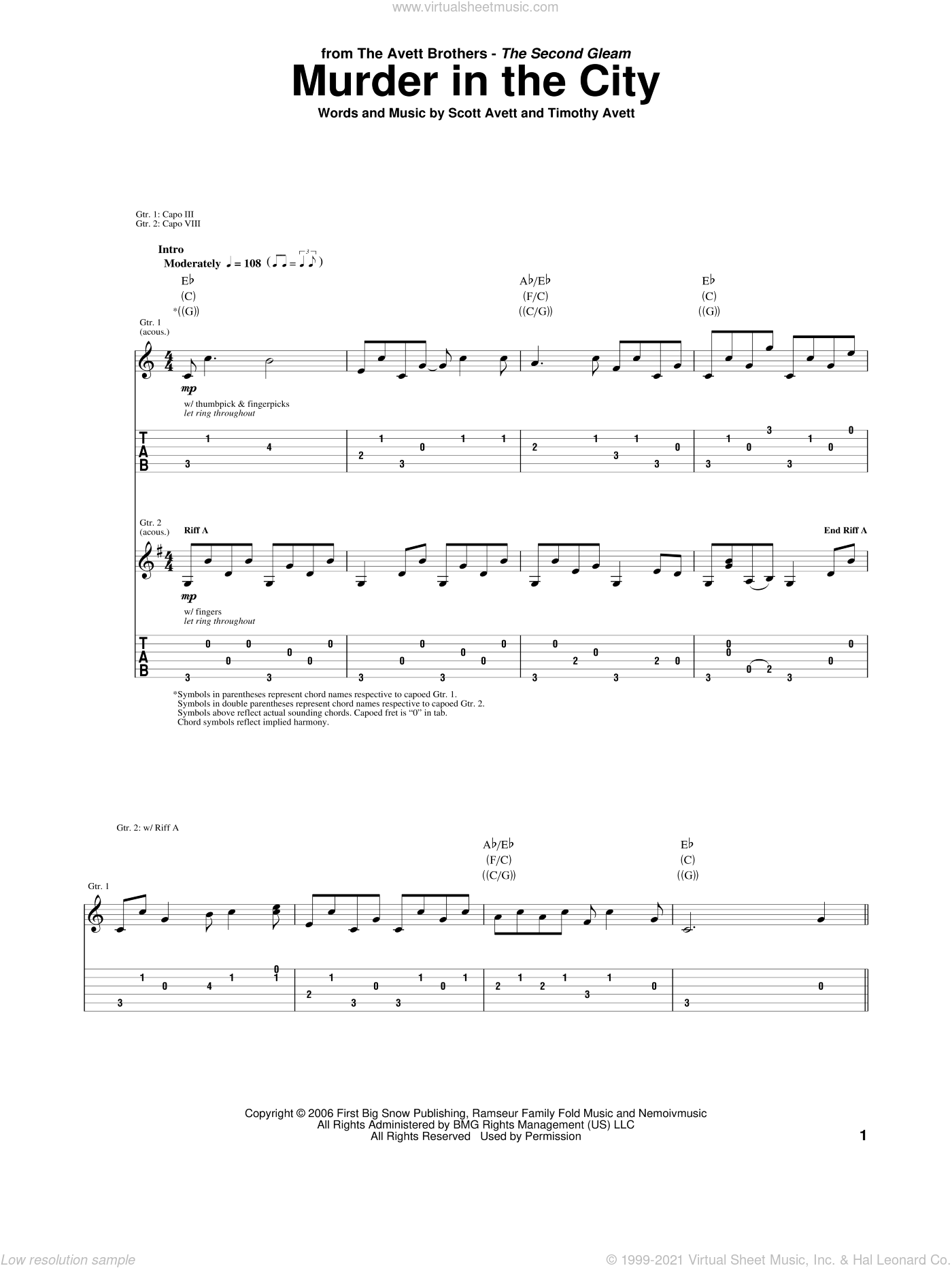 Murder In The City sheet music for guitar (tablature) by Timothy Avett