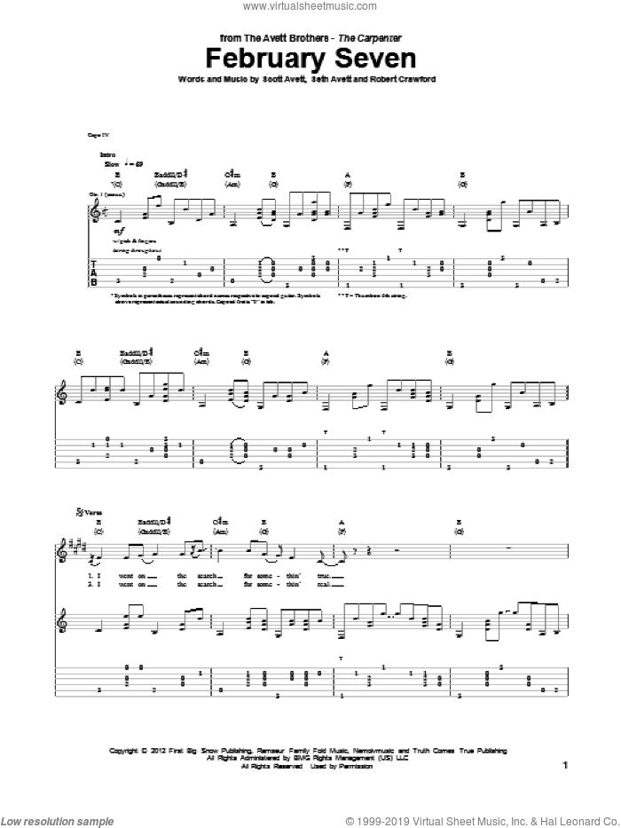 February Seven sheet music for guitar (tablature) by Avett Brothers, The Avett Brothers, Robert Crawford, Scott Avett and Seth Avett, intermediate skill level