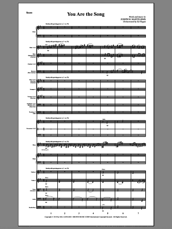 You Are the Song (COMPLETE) sheet music for orchestra/band by Joseph M. Martin, intermediate. Score Image Preview.