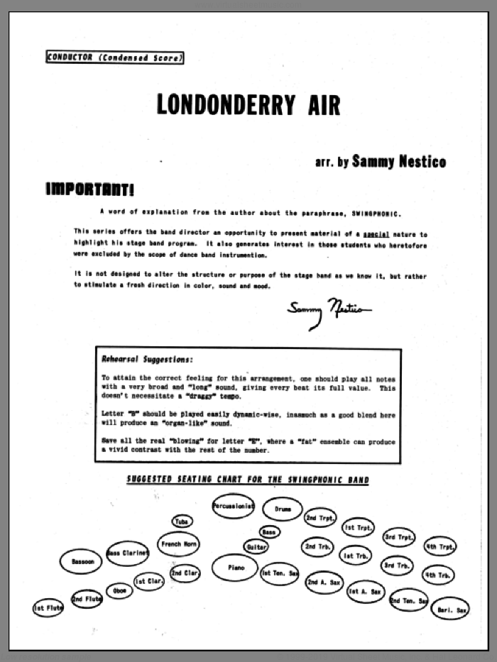 Londonderry Air (COMPLETE) sheet music for jazz band by Sammy Nestico, intermediate skill level