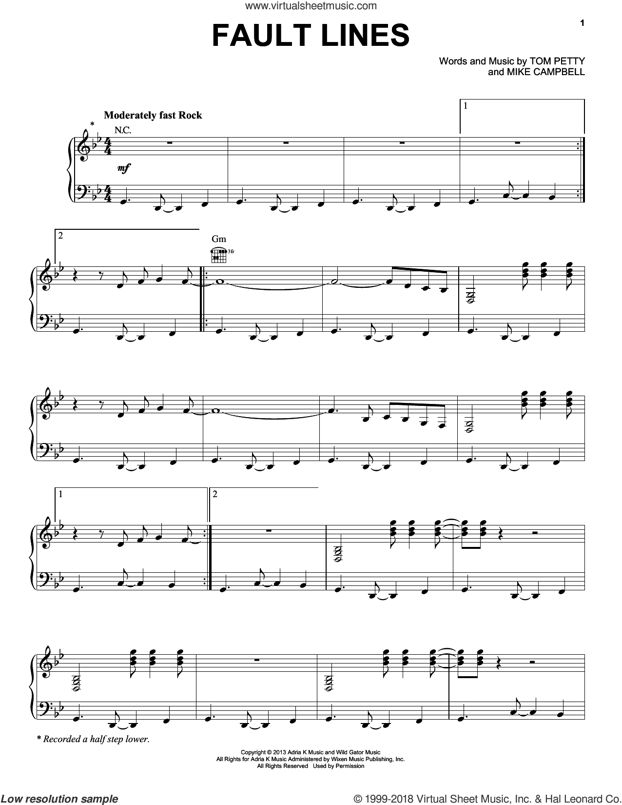 Fault Lines sheet music for voice, piano or guitar by Tom Petty, Tom Petty And The Heartbreakers and Mike Campbell, intermediate skill level