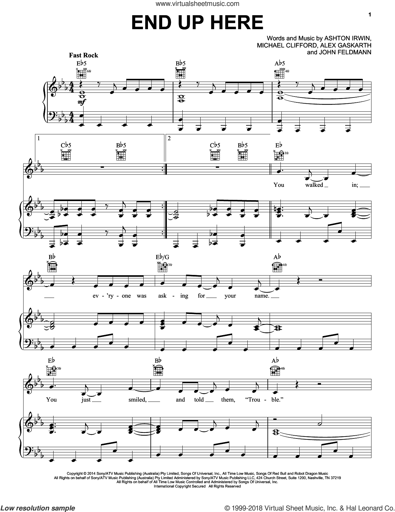 End Up Here sheet music for voice, piano or guitar by 5 Seconds of Summer, Alex Gaskarth, Ashton Irwin, John Feldmann and Michael Clifford, intermediate skill level