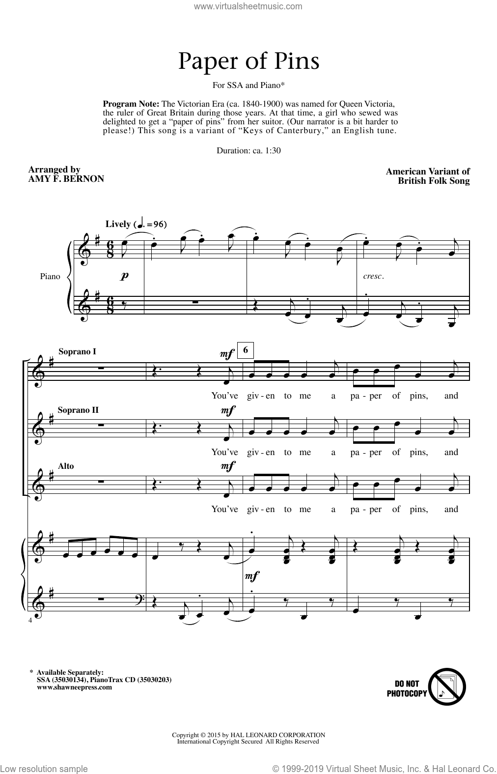 A Paper Of Pins sheet music for choir (SSA: soprano, alto) by Amy Bernon, intermediate. Score Image Preview.
