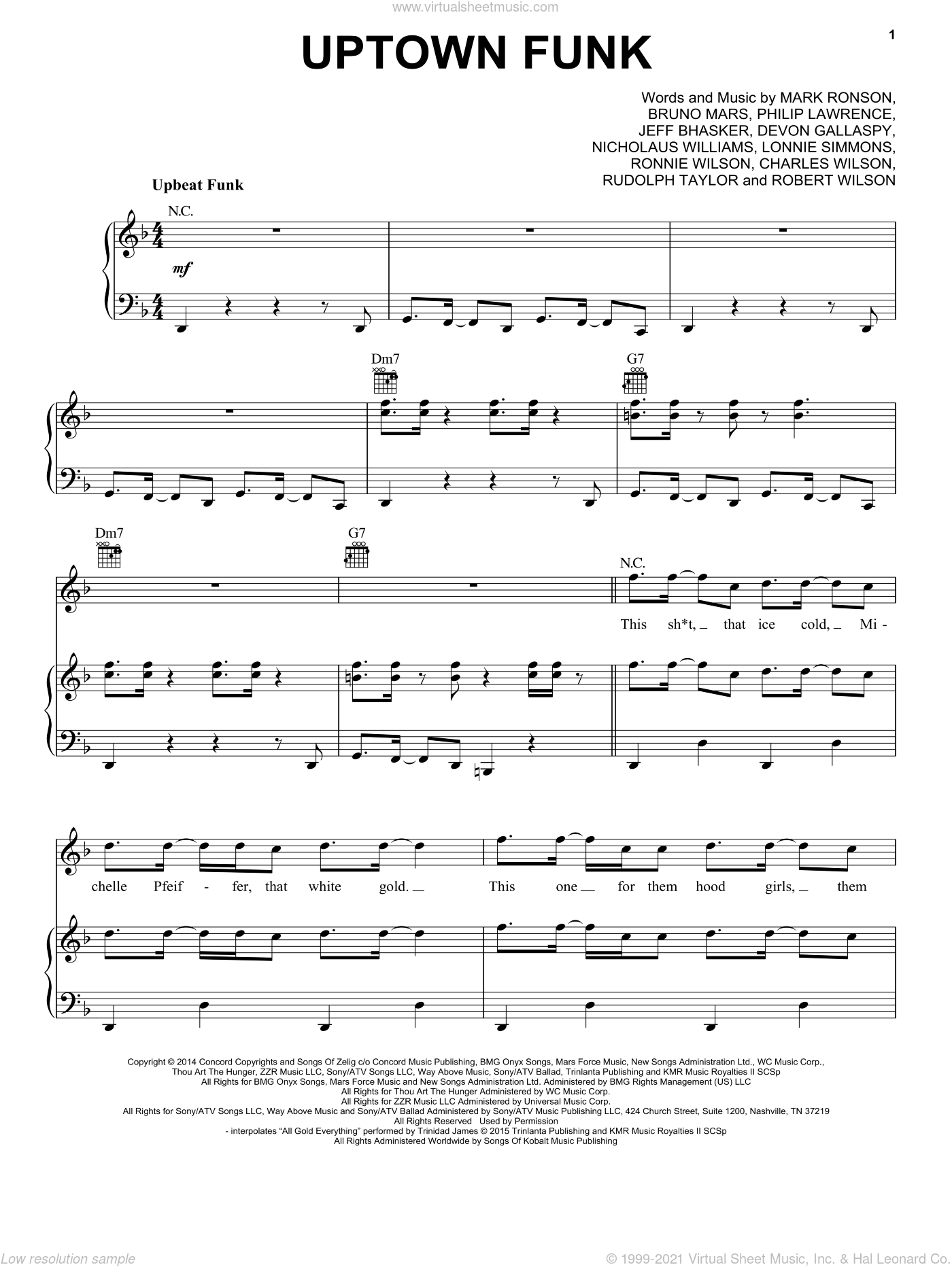 Uptown Funk (feat. Bruno Mars) sheet music for voice, piano or guitar by Mark Ronson ft. Bruno Mars, Bruno Mars, Devon Gallaspy, Jeff Bhasker, Mark Ronson, Nicholaus Williams and Philip Lawrence, intermediate skill level