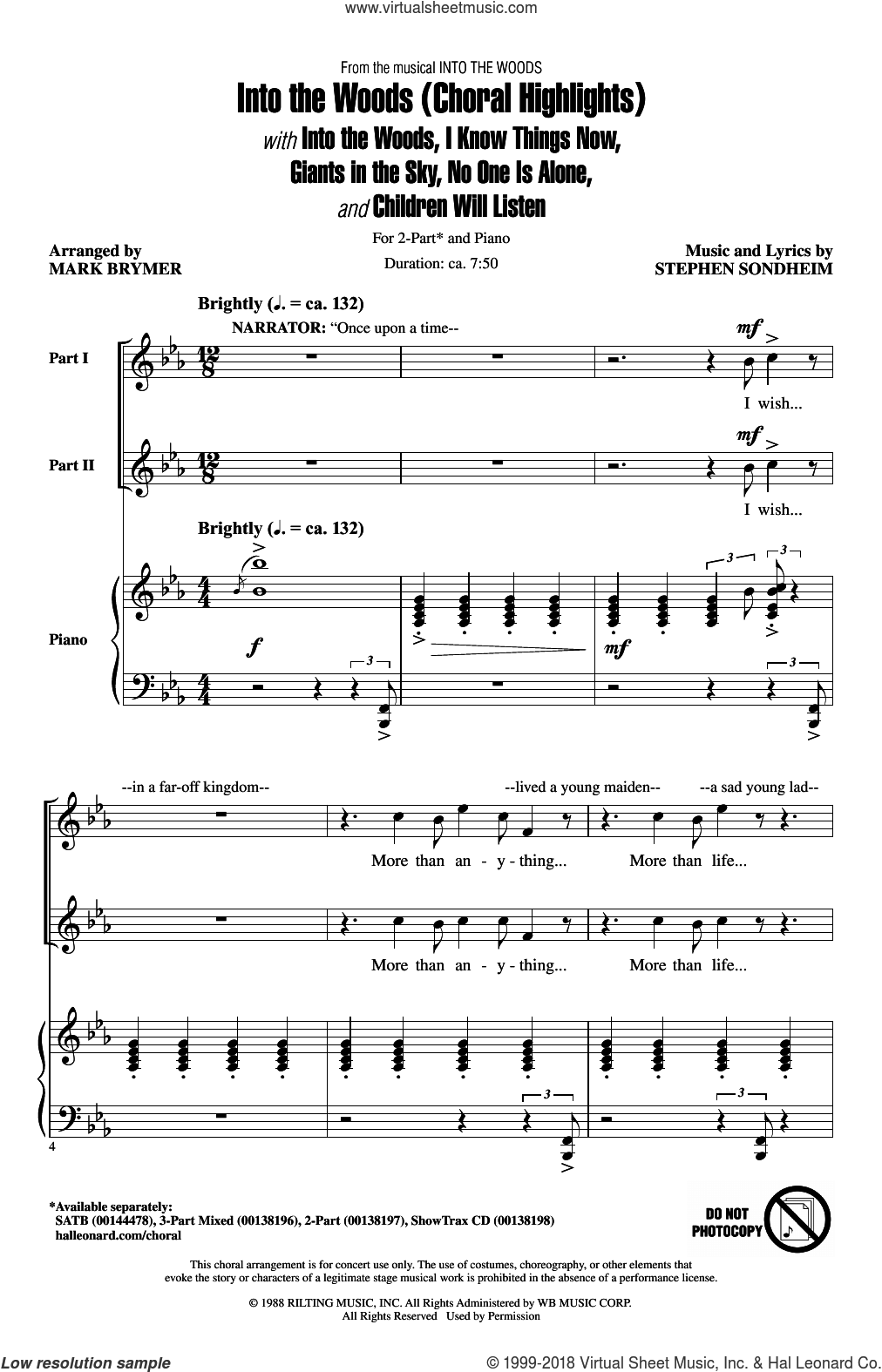 Into The Woods (Choral Highlights) sheet music for choir (duets) by Stephen Sondheim and Mark Brymer. Score Image Preview.