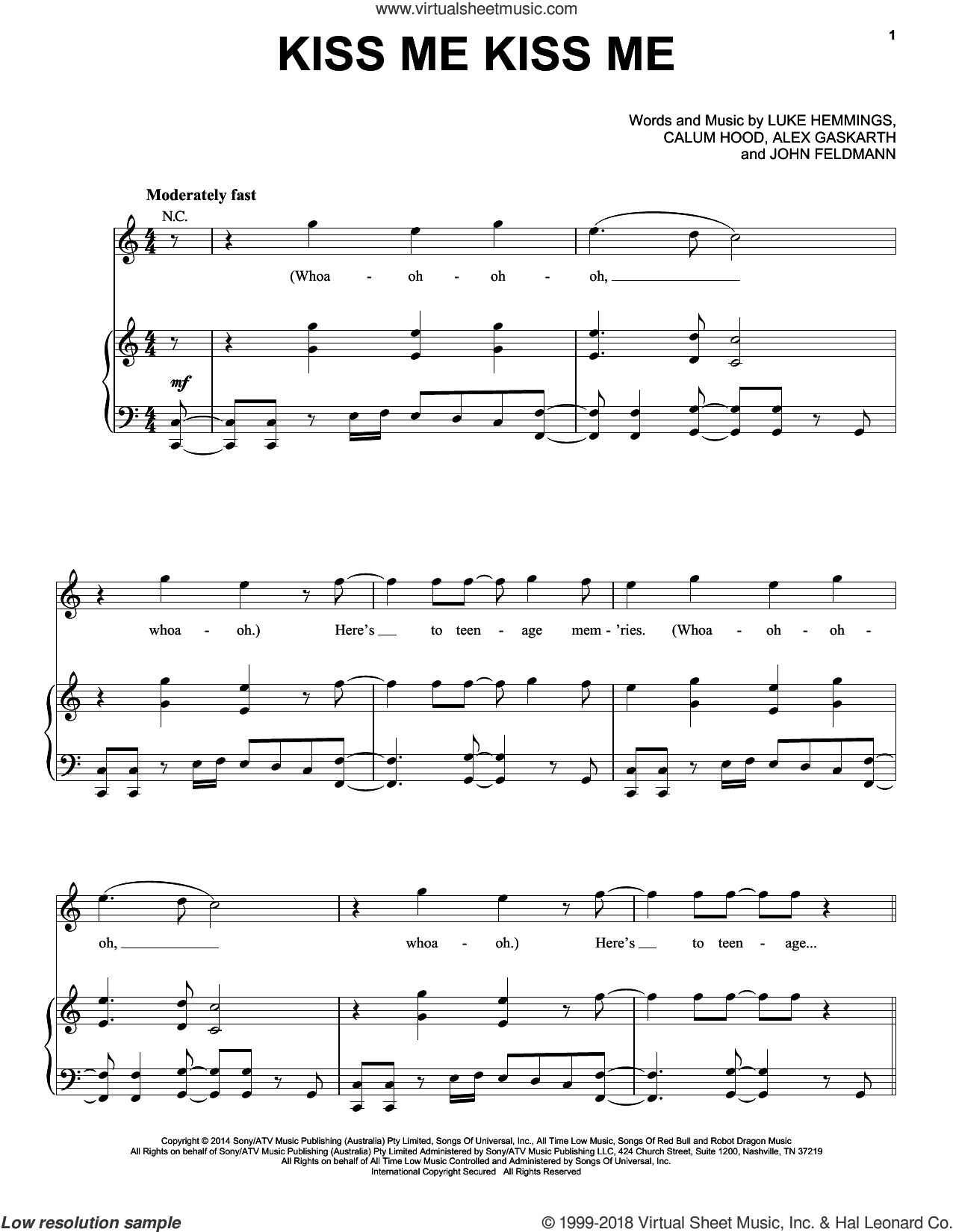 Kiss Me Kiss Me sheet music for voice, piano or guitar by 5 Seconds of Summer, Calum Hood and John Feldmann, intermediate. Score Image Preview.