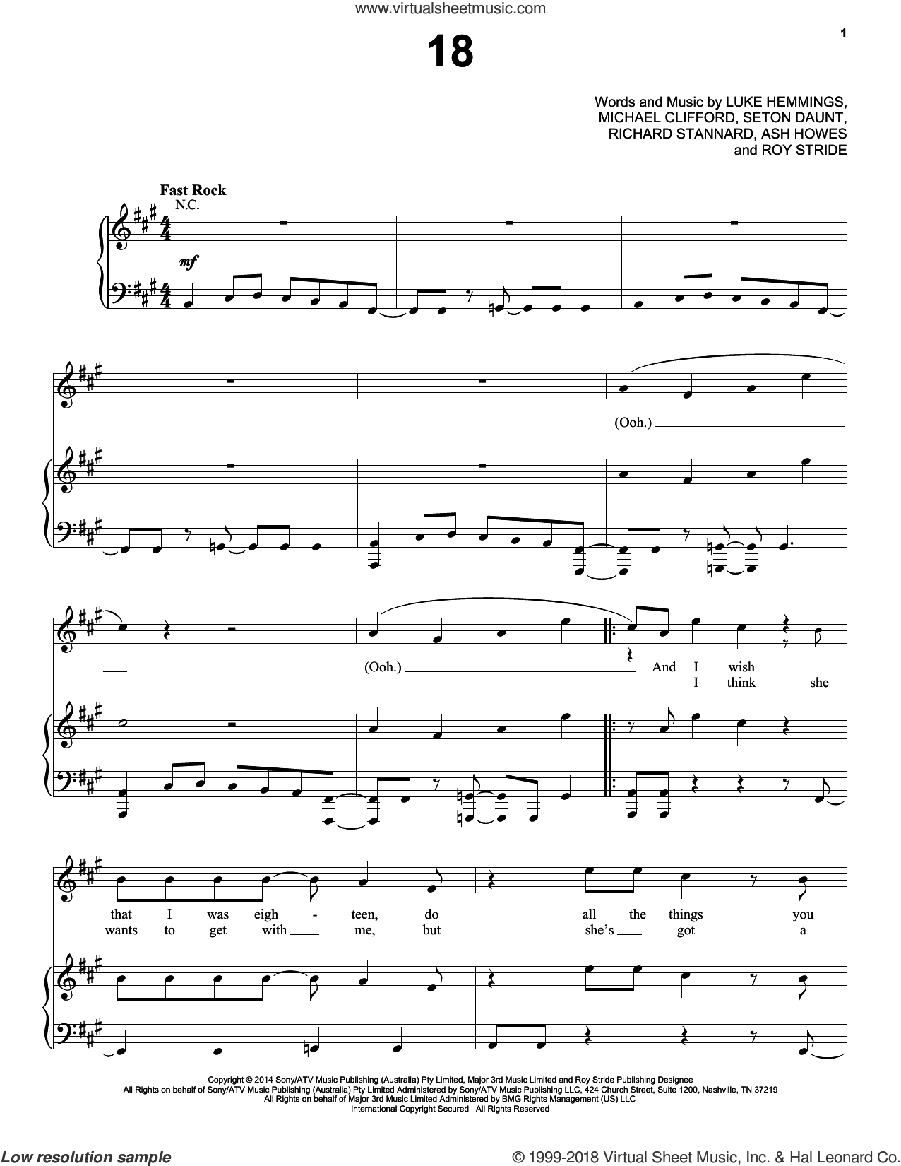 18 sheet music for voice, piano or guitar by 5 Seconds of Summer, Ash Howes, Luke Hemmings, Michael Clifford, Richard Stannard, Roy Stride and Seton Daunt, intermediate skill level