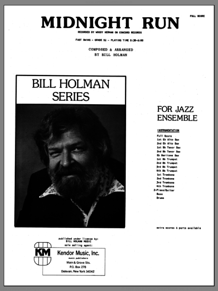 Midnight Run (COMPLETE) sheet music for jazz band by Bill Holman, intermediate skill level