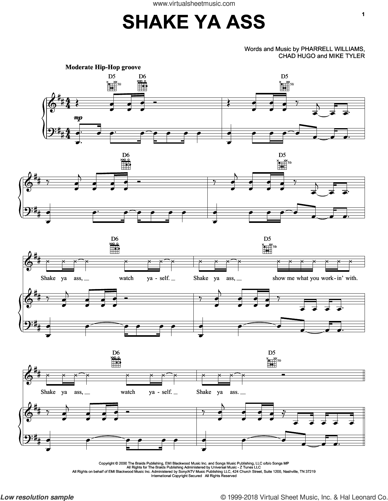Shake Ya Ass sheet music for voice, piano or guitar by Mystikal, Chad Hugo, Mike Tyler and Pharrell Williams, intermediate skill level