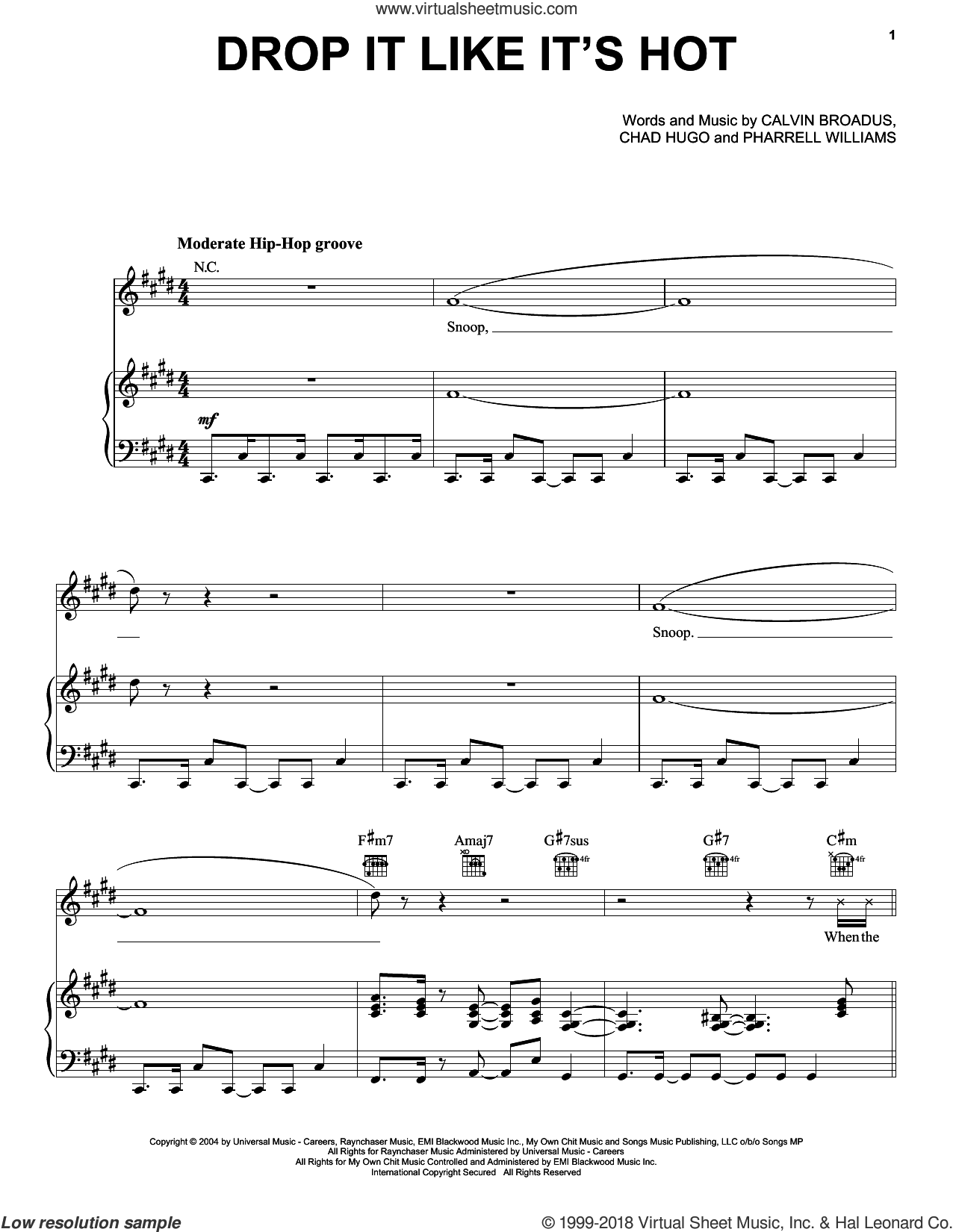 Drop It Like It's Hot sheet music for voice, piano or guitar by Snoop Dogg feat. Pharrell, Calvin Broadus, Chad Hugo and Pharrell Williams, intermediate skill level