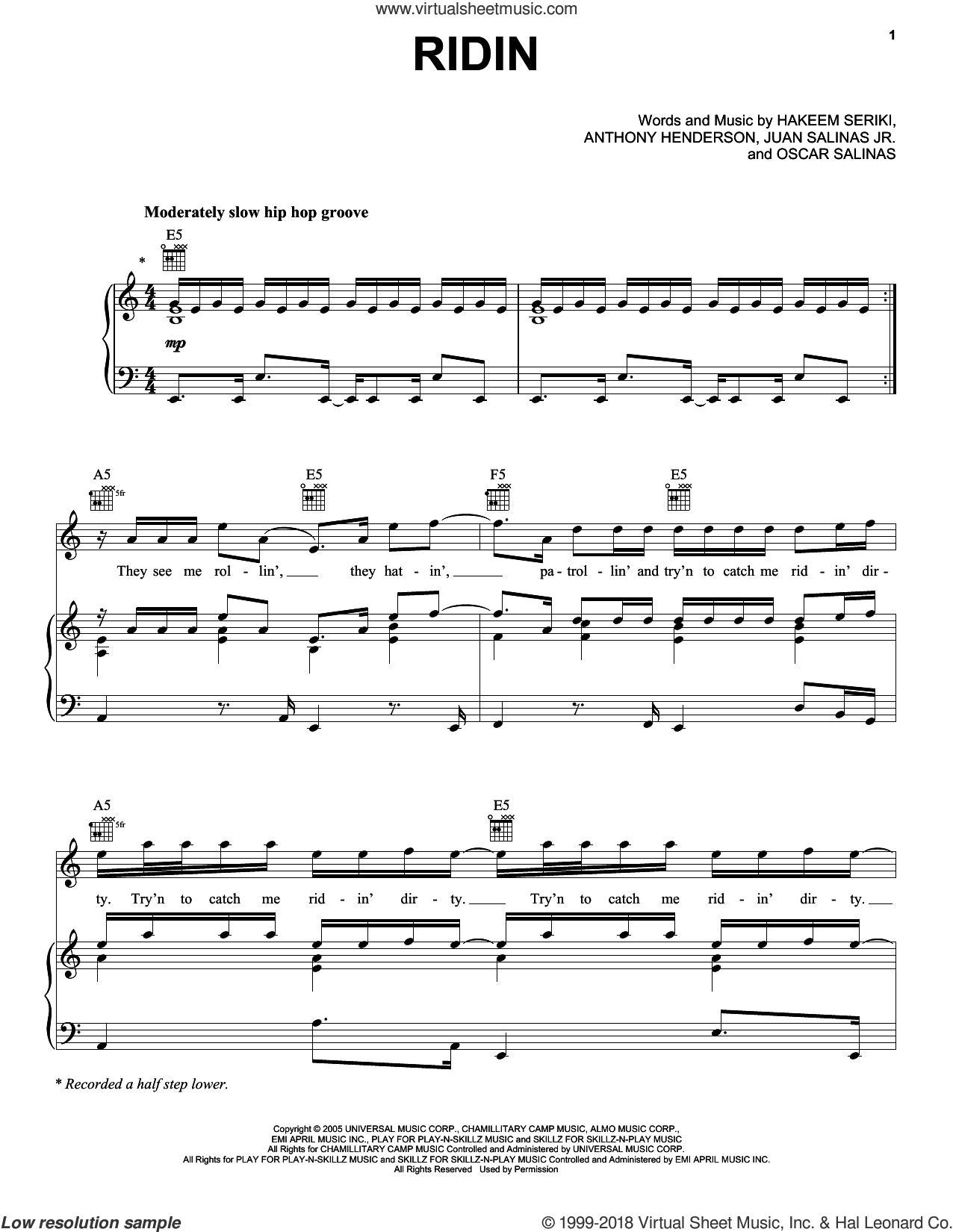 Ridin sheet music for voice, piano or guitar by Chamillionaire, Anthony Henderson, Hakeem Seriki, Juan Salinas Jr. and Oscar Salinas, intermediate