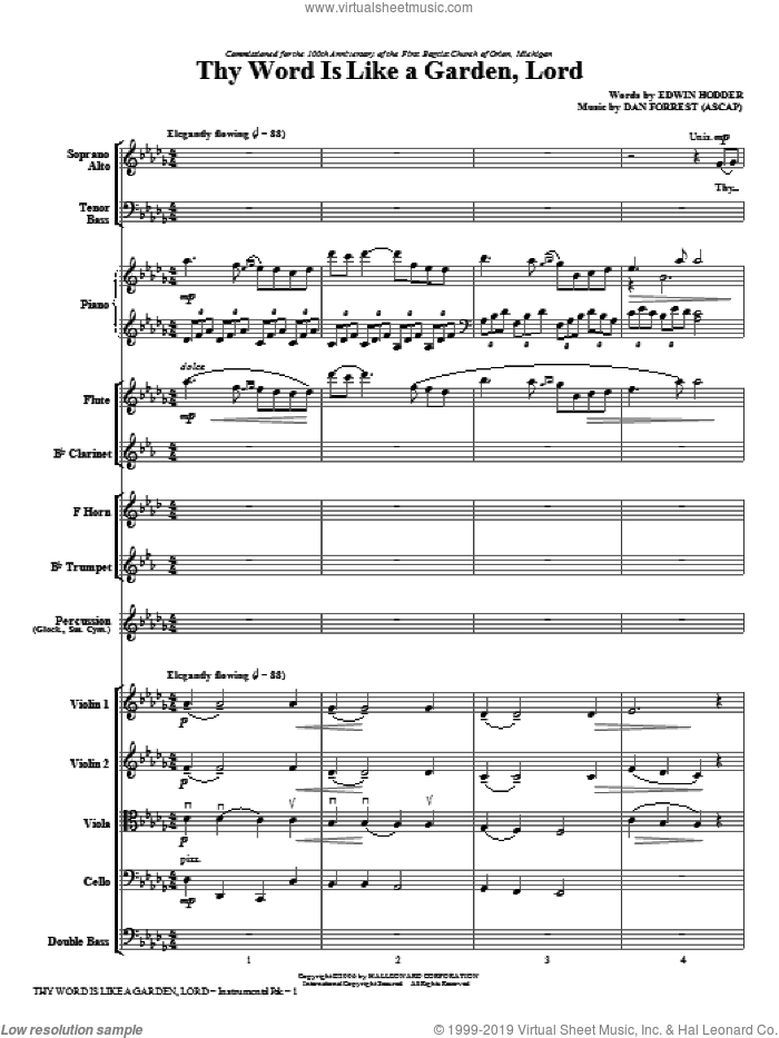 Thy Word Is Like A Garden, Lord (complete set of parts) sheet music for orchestra/band (Orchestra) by Dan Forrest, intermediate orchestra. Score Image Preview.