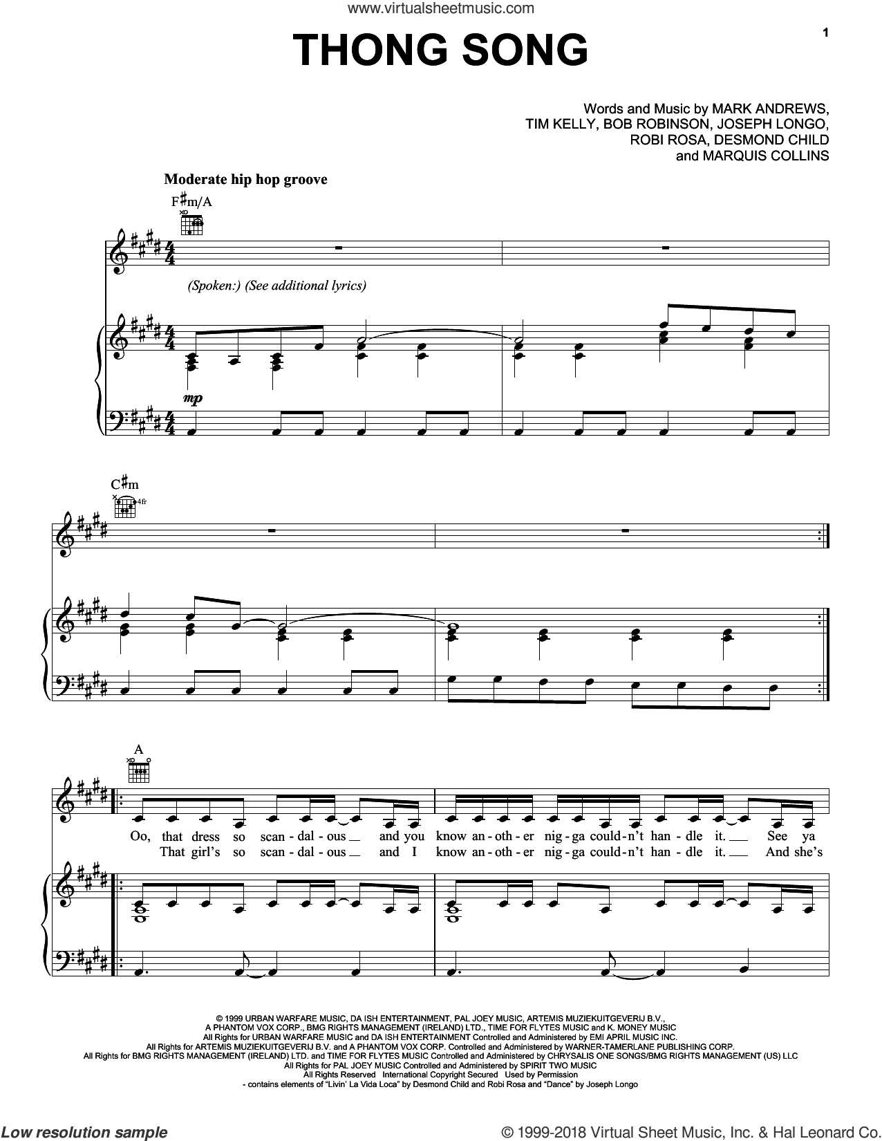 Thong Song sheet music for voice, piano or guitar by Sisqo, Bob Robinson, Desmond Child, Joseph Longo, Mark Andrews, Marquis Collins, Roby Rosa and Tim Kelly, intermediate skill level