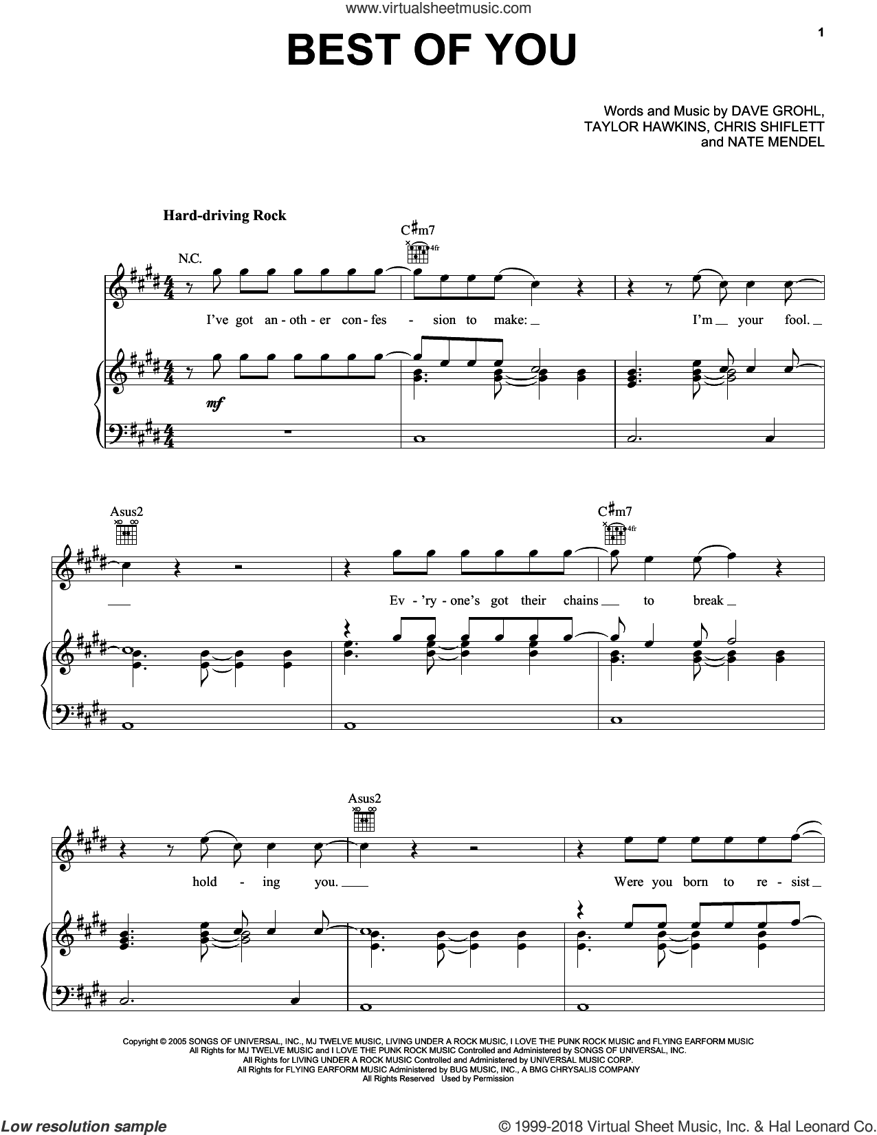 Best Of You sheet music for voice, piano or guitar by Foo Fighters, Chris Shiflett, Dave Grohl, Nate Mendel and Taylor Hawkins, intermediate skill level