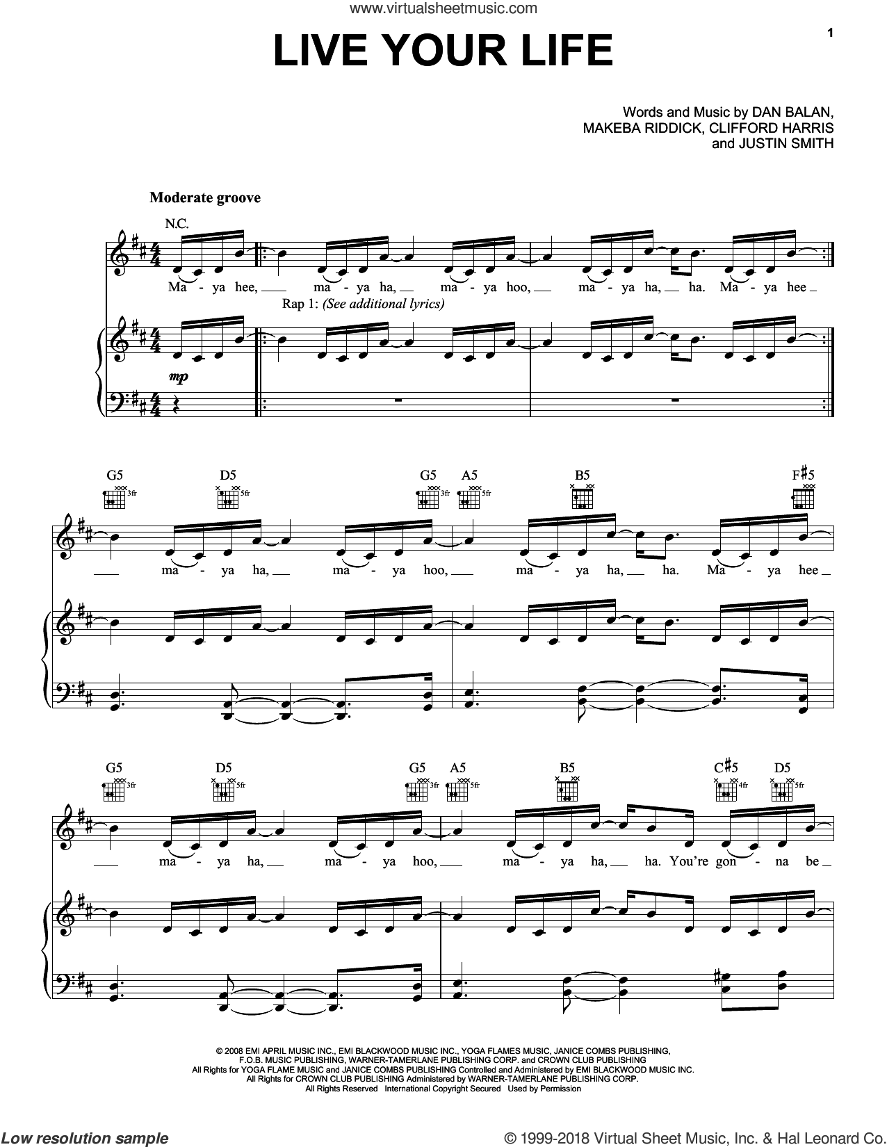 Live Your Life sheet music for voice, piano or guitar by T.I., Clifford Harris, Justin Smith and Makeba Riddick, intermediate. Score Image Preview.
