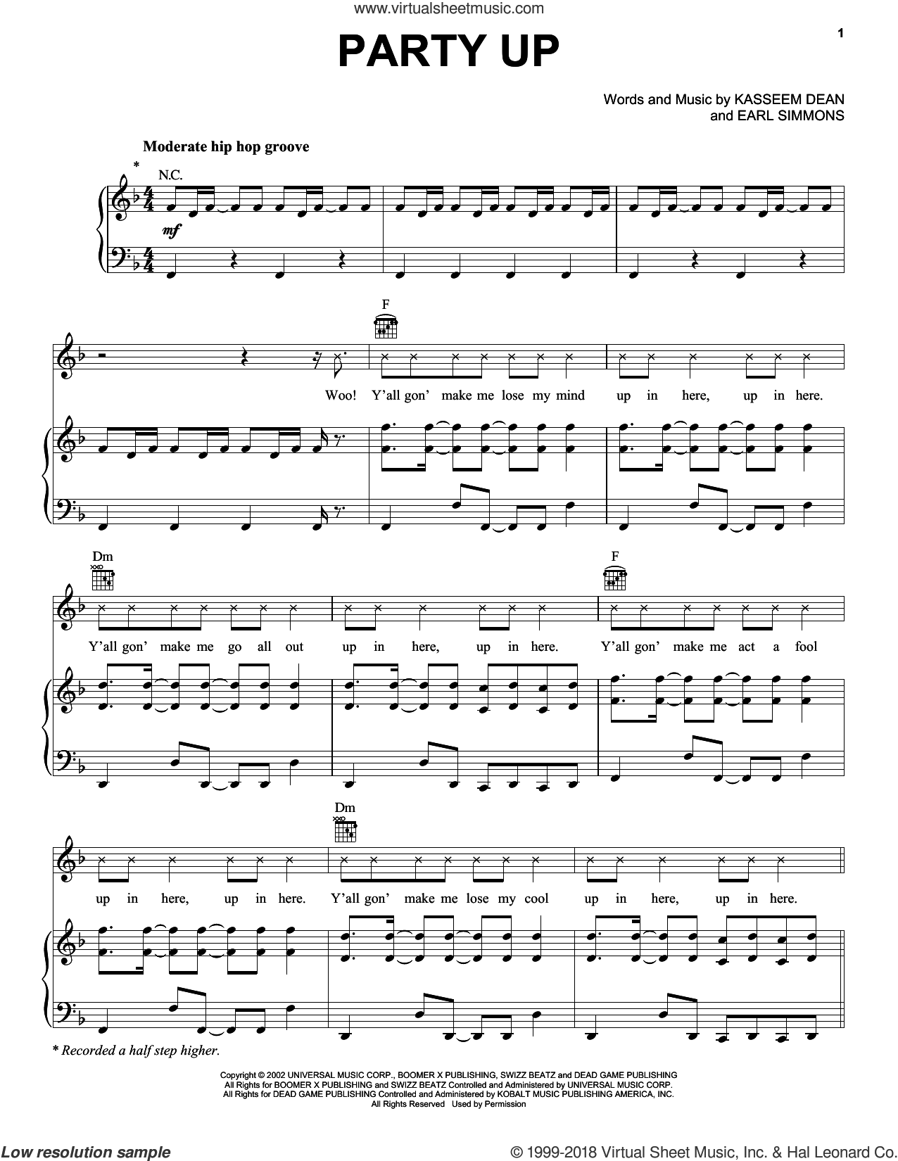 Party Up sheet music for voice, piano or guitar by DMX, Miscellaneous, Earl Simmons and Kasseem Dean, intermediate skill level