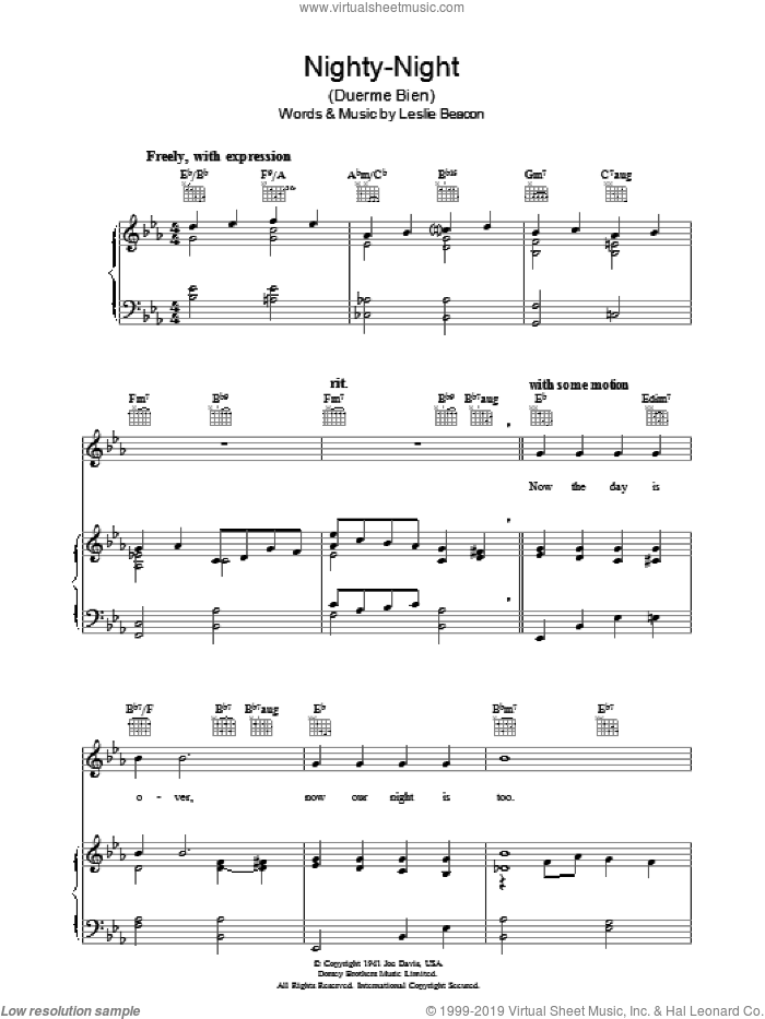Nighty-Night (Duerme Bien) sheet music for voice, piano or guitar by Leslie Beacon, intermediate. Score Image Preview.