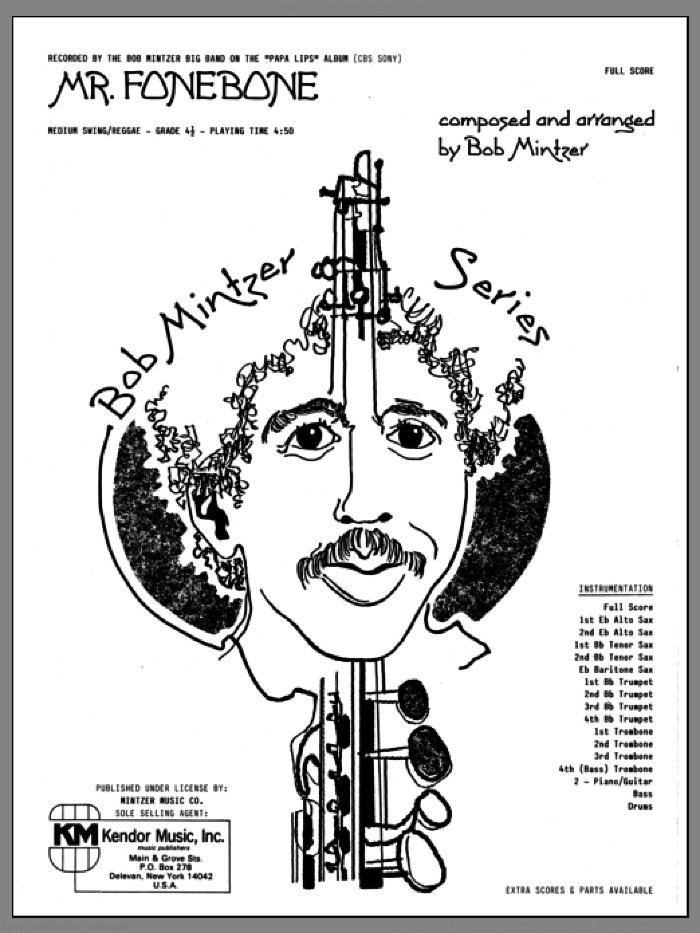Mr. Fonebone (COMPLETE) sheet music for jazz band by Bob Mintzer, intermediate jazz band. Score Image Preview.