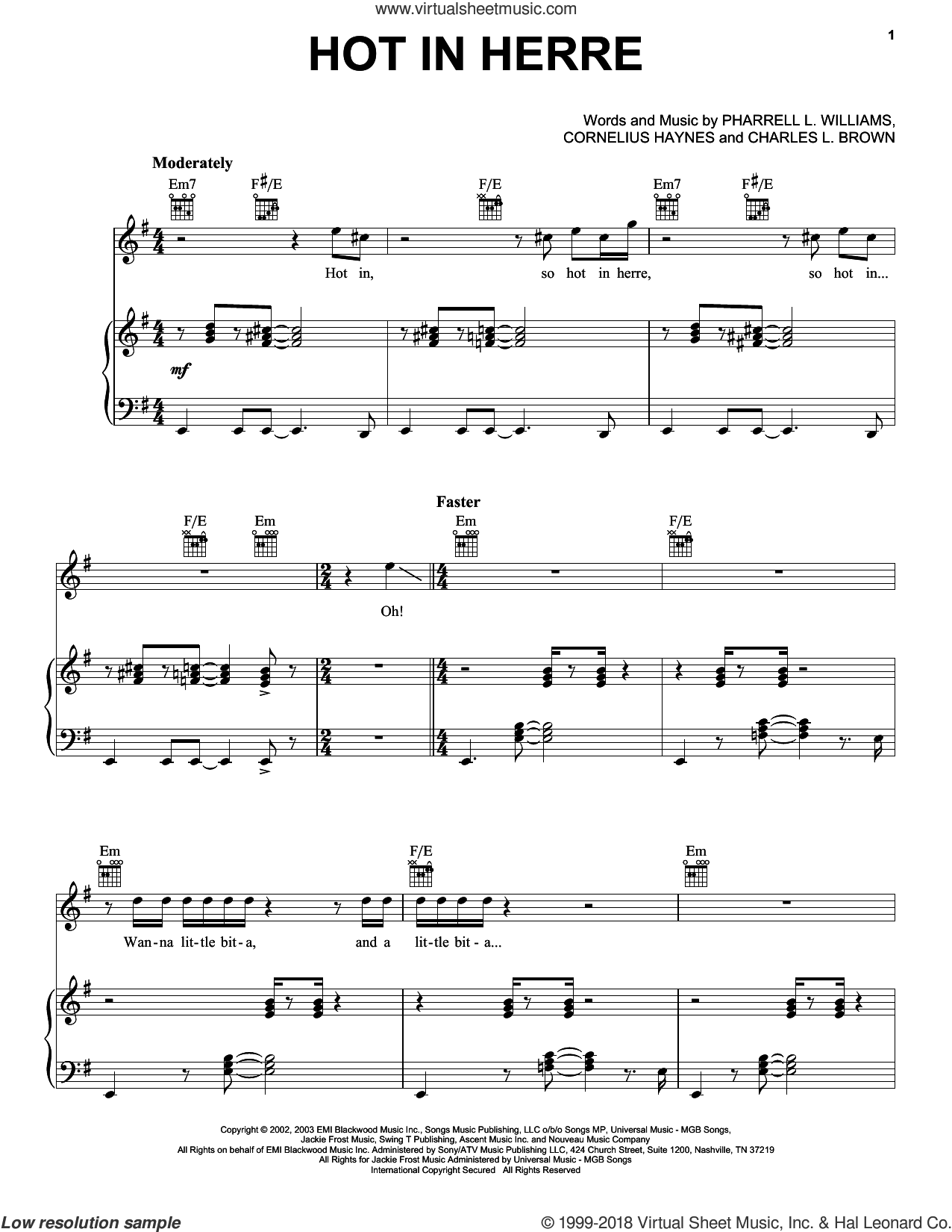 Hot In Herre sheet music for voice, piano or guitar by Nelly, Charles L. Brown, Cornelius Haynes and Pharrell L. Williams, intermediate skill level
