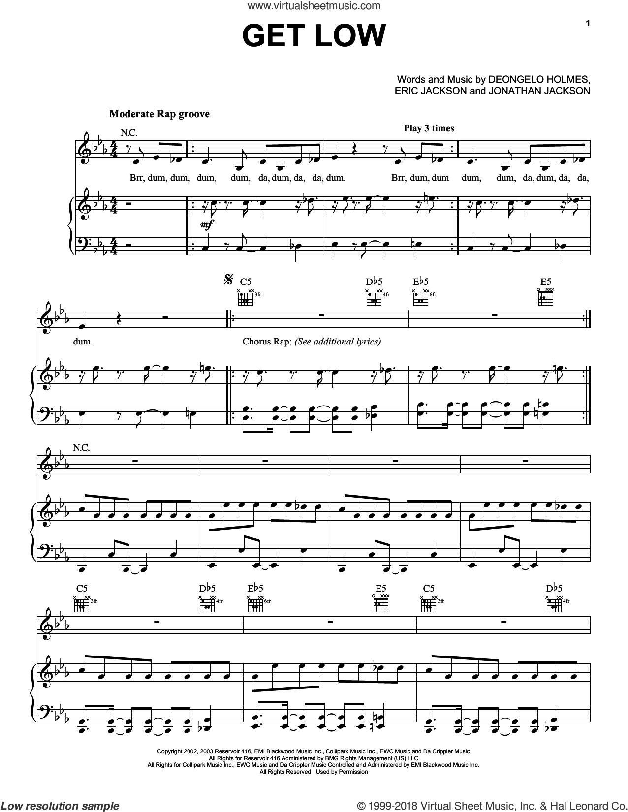Get Low sheet music for voice, piano or guitar by Lil' Jon and the Eastside Boys, Deongelo Holmes, Eric Jackson and Jonathan Jackson, intermediate skill level