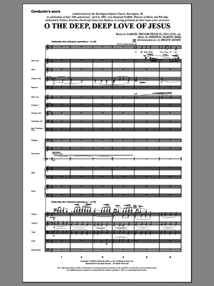 O The Deep, Deep Love Of Jesus (from Harvest Of Sorrows) (COMPLETE) sheet music for orchestra/band by Joseph M. Martin and Samuel Trevor Francis, intermediate skill level