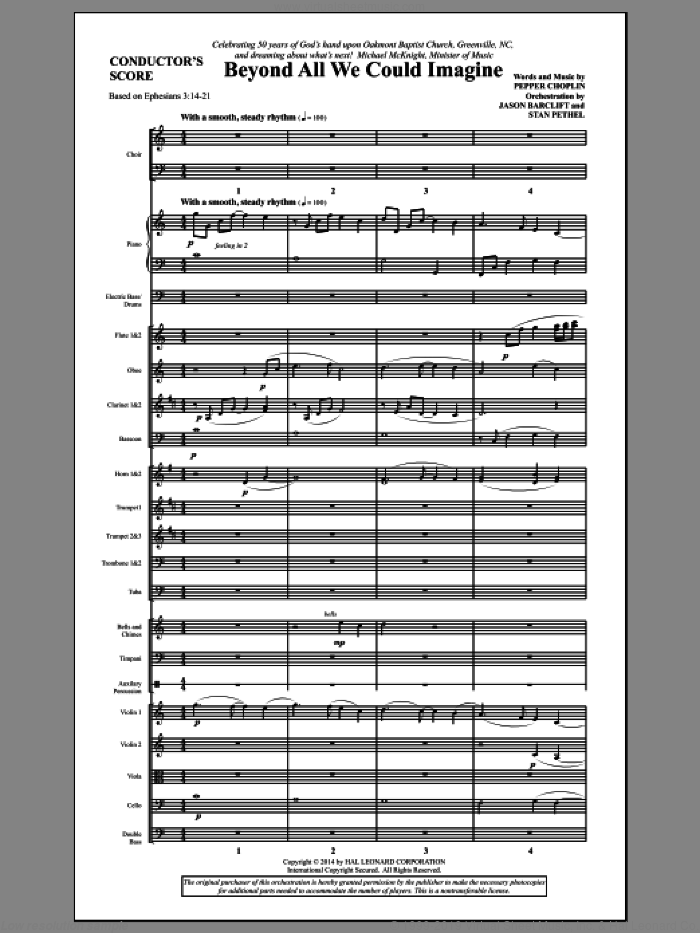 Beyond All We Could Imagine (COMPLETE) sheet music for orchestra/band by Pepper Choplin, intermediate skill level