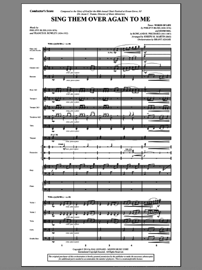 Sing Them Over Again to Me (COMPLETE) sheet music for orchestra/band by Joseph M. Martin and Philip P. Bliss, intermediate skill level