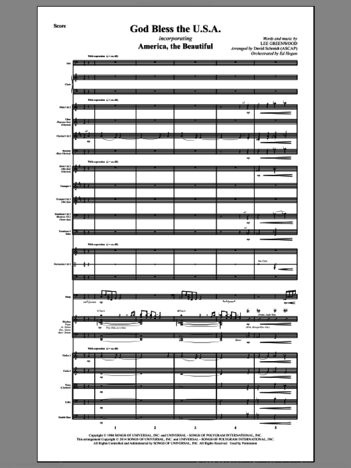 God Bless The U.S.A. (COMPLETE) sheet music for orchestra/band by Lee Greenwood and David Schmidt, intermediate skill level
