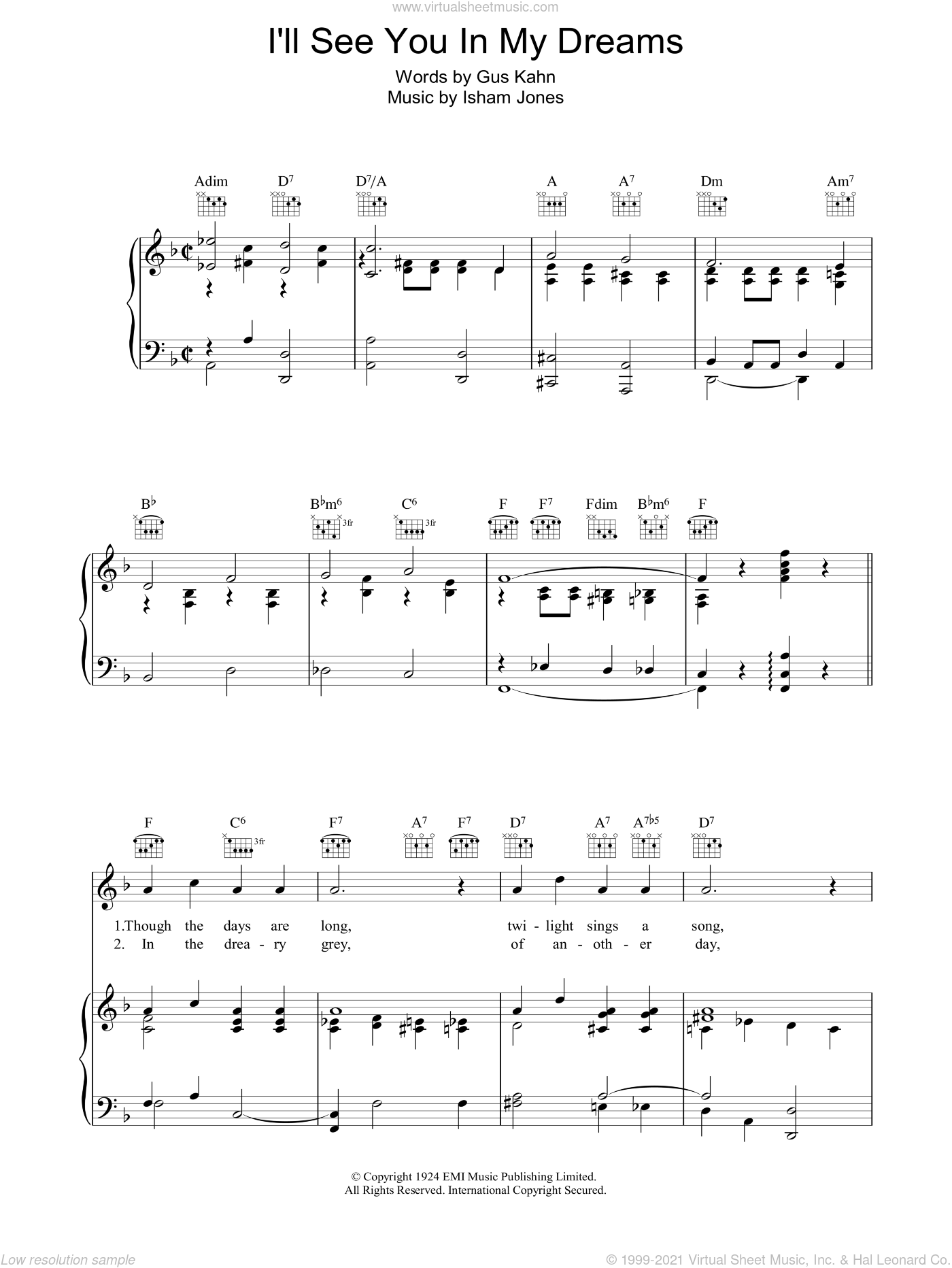 I'll See You In My Dreams sheet music for voice, piano or guitar by Gus Kahn and Isham Jones, intermediate skill level