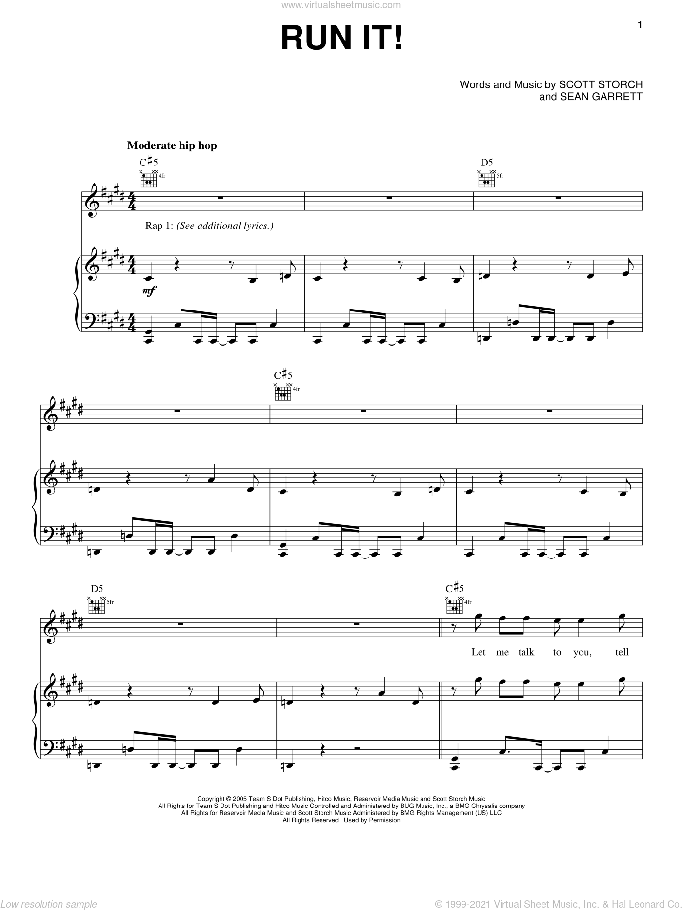 Run It! sheet music for voice, piano or guitar by Scott Storch, Chris Brown and Sean Garrett. Score Image Preview.