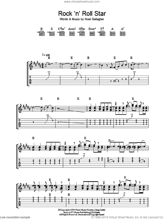 Rock 'N' Roll Star sheet music for guitar (tablature) by Noel Gallagher and Oasis