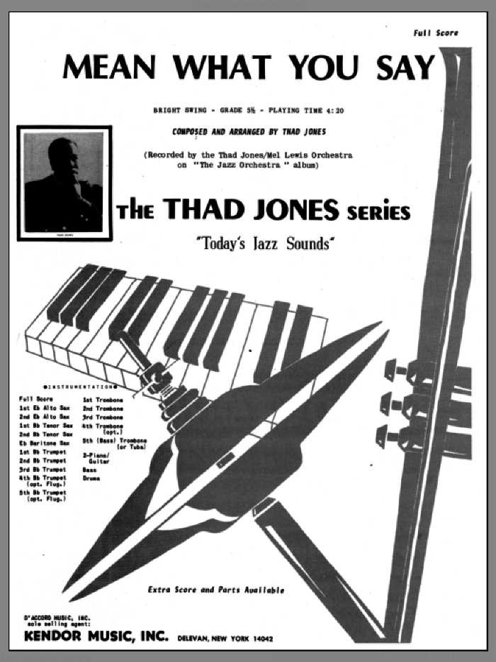Mean What You Say (COMPLETE) sheet music for jazz band by Thad Jones, intermediate jazz band. Score Image Preview.