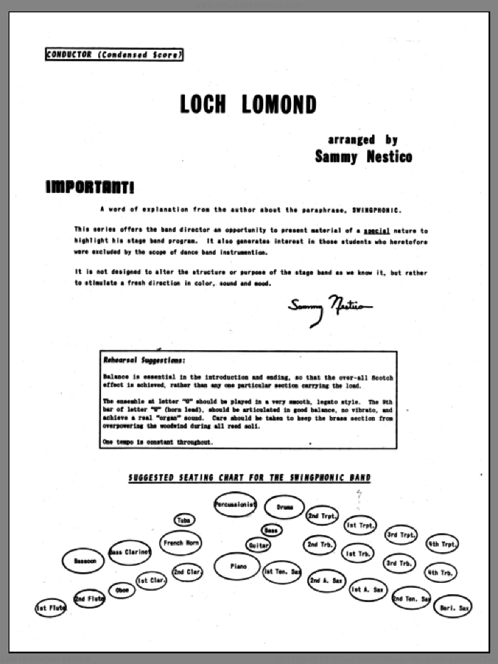 Loch Lomond (COMPLETE) sheet music for jazz band by Sammy Nestico, intermediate. Score Image Preview.
