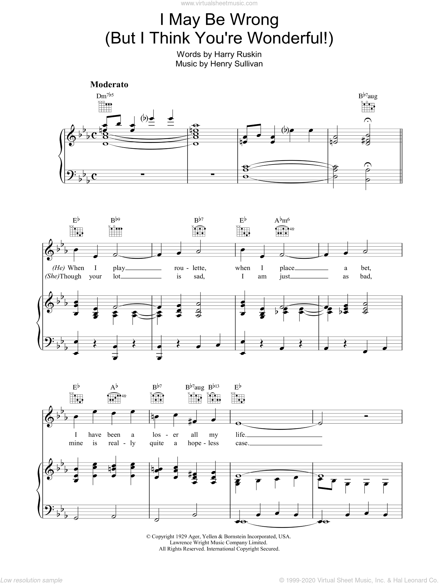 I May Be Wrong (But I Think You're Wonderful) sheet music for voice, piano or guitar by Harry Ruskin