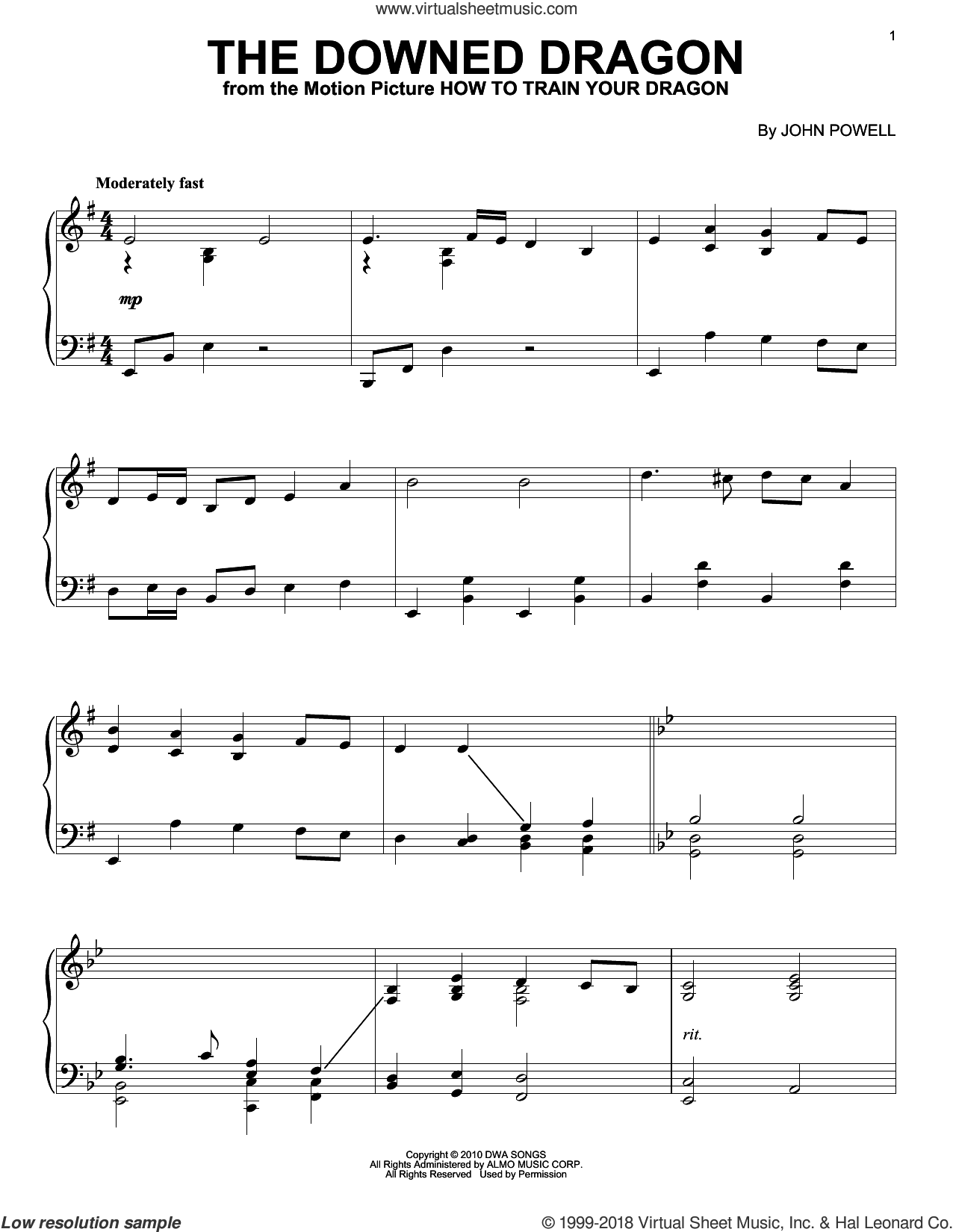 The Downed Dragon sheet music for piano solo by John Powell