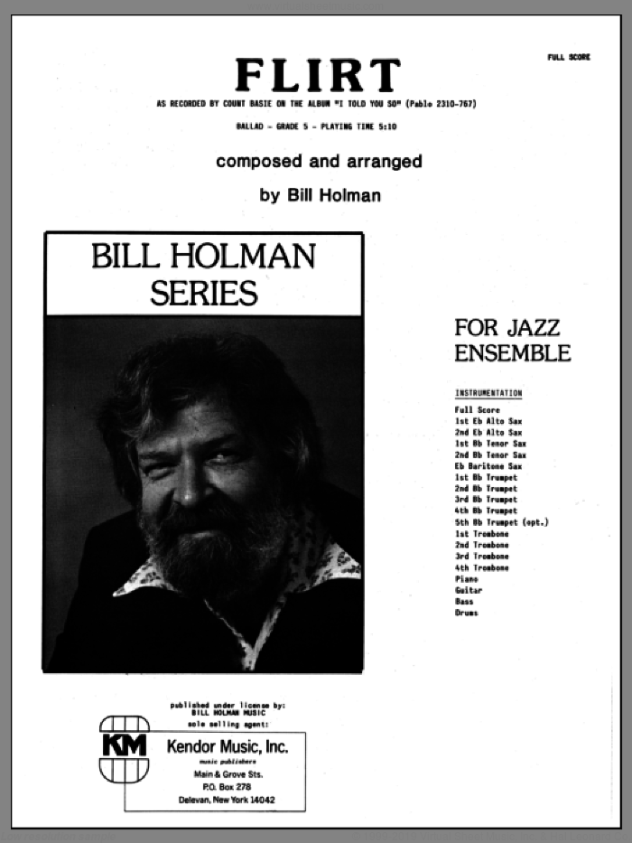Flirt (COMPLETE) sheet music for jazz band by Bill Holman, intermediate jazz band. Score Image Preview.