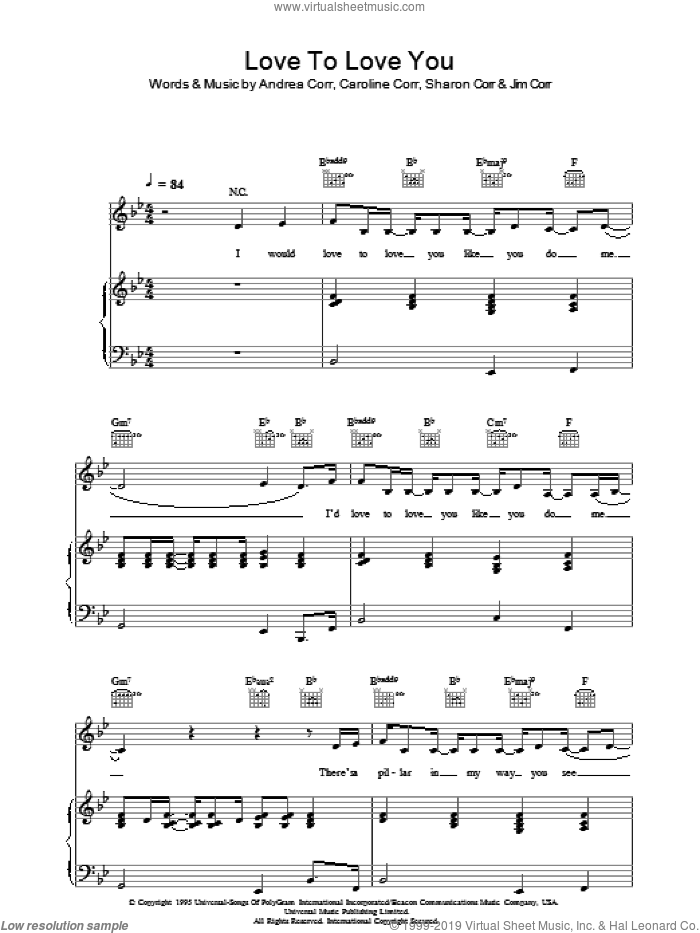 Love To Love You sheet music for voice, piano or guitar by Sharon Corr, The Corrs and Andrea Corr. Score Image Preview.
