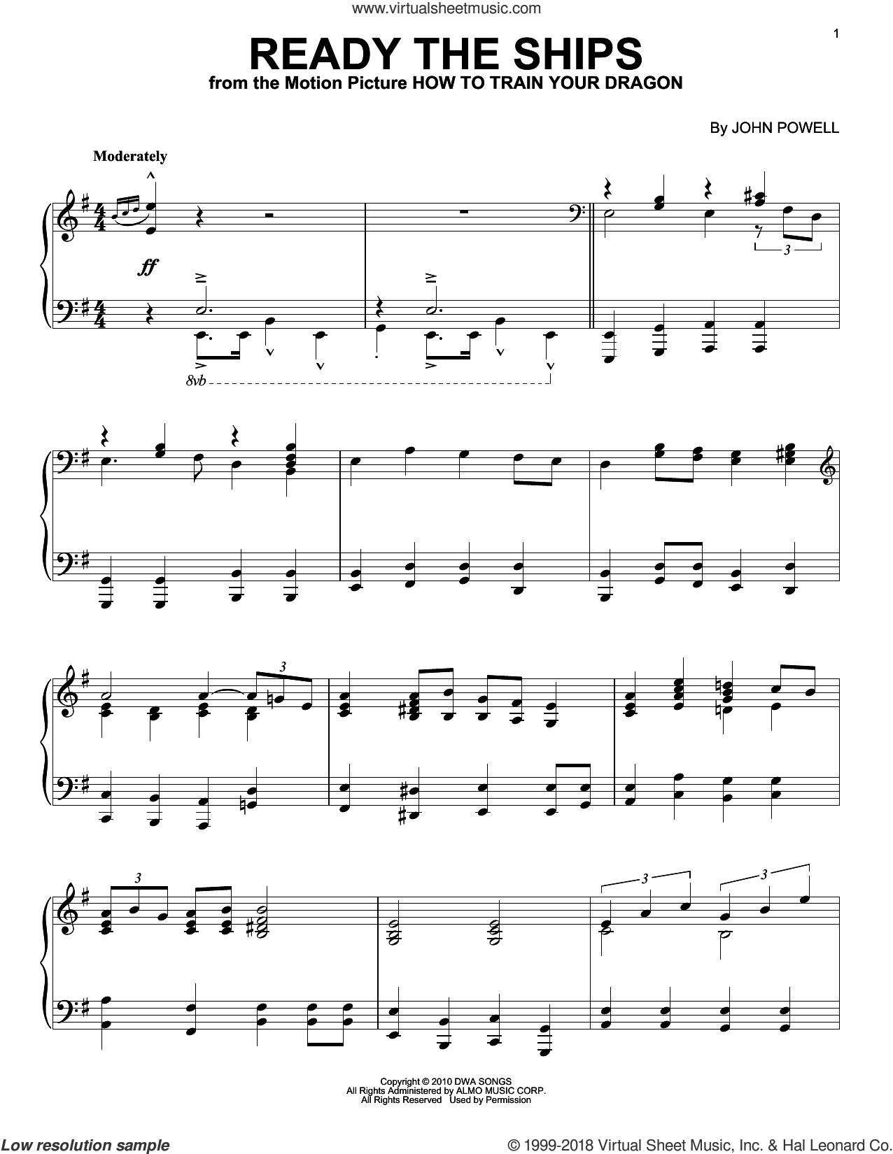 Ready The Ships sheet music for piano solo by John Powell, intermediate skill level