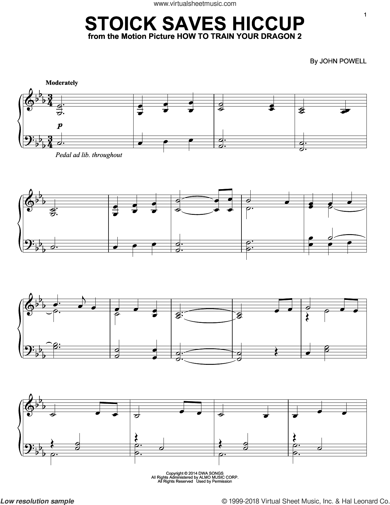 Stoick Saves Hiccup (from How to Train Your Dragon) sheet music for piano solo by John Powell, intermediate skill level