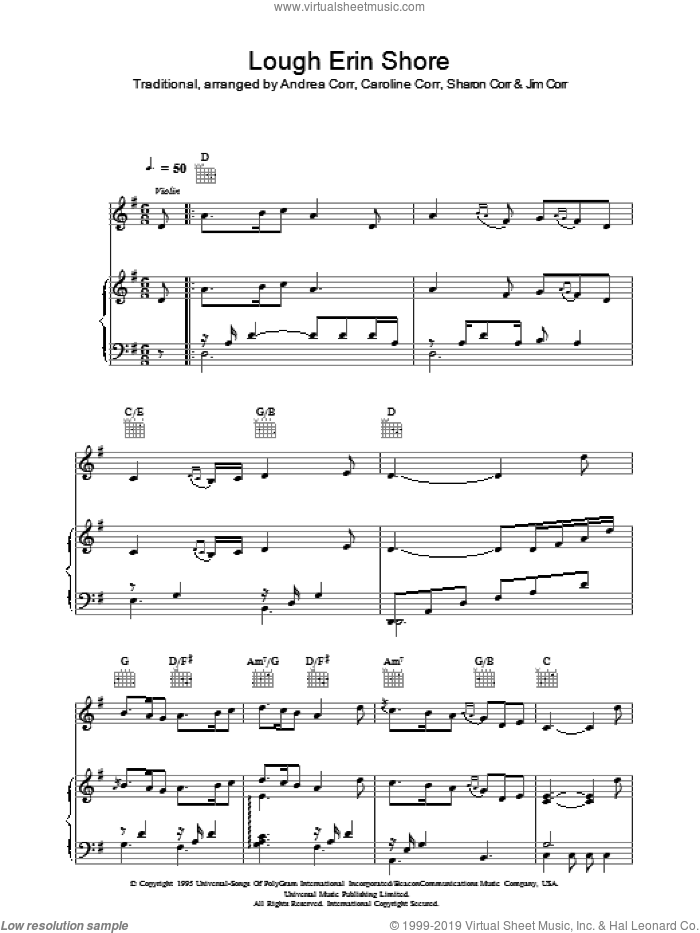 Lough Erin Shore sheet music for voice, piano or guitar , The Corrs, Andrea Corr and Sharon Corr. Score Image Preview.