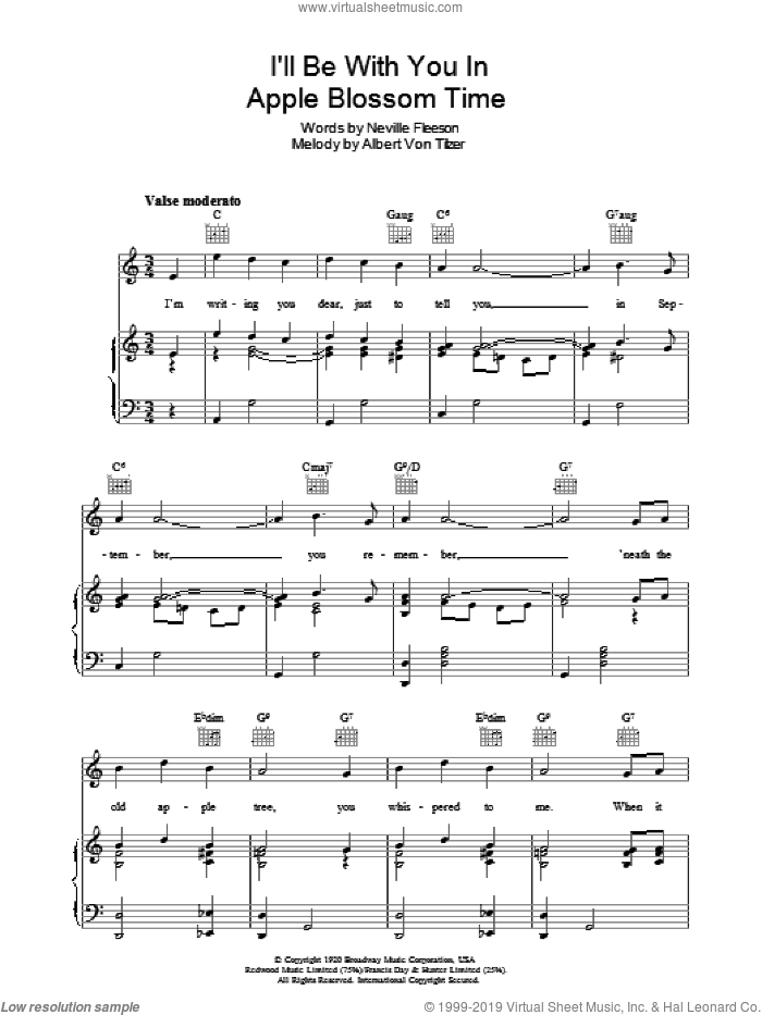 I'll Be With You In Apple Blossom Time sheet music for voice, piano or guitar by Neville Fleeson and Albert von Tilzer, intermediate. Score Image Preview.