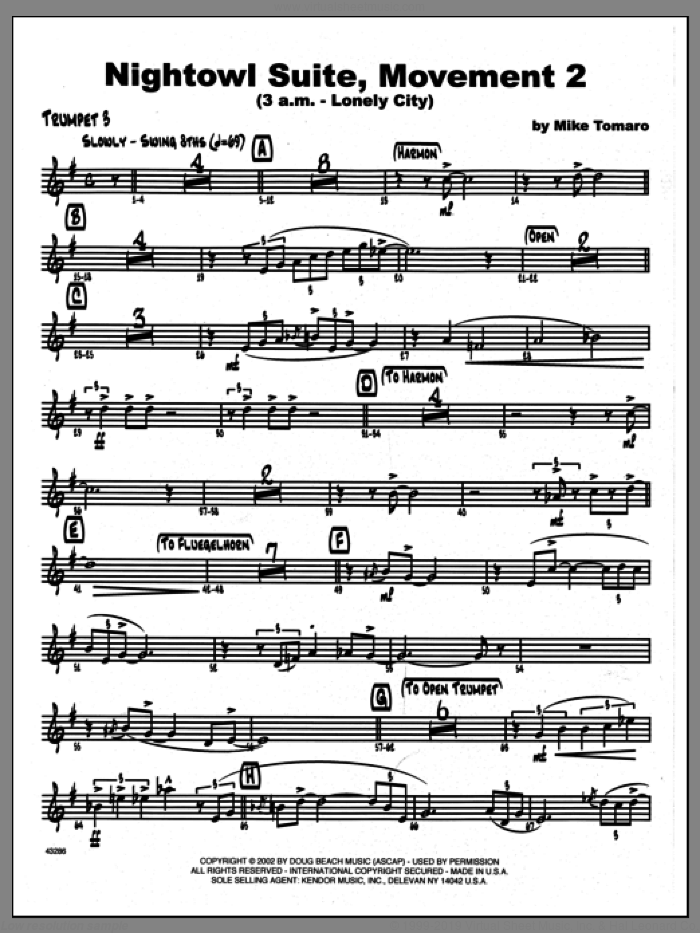 Nightowl Suite, Movement 2 (3 a.m., lonely city sheet music for jazz band (3rd Bb trumpet) by Mike Tomaro. Score Image Preview.