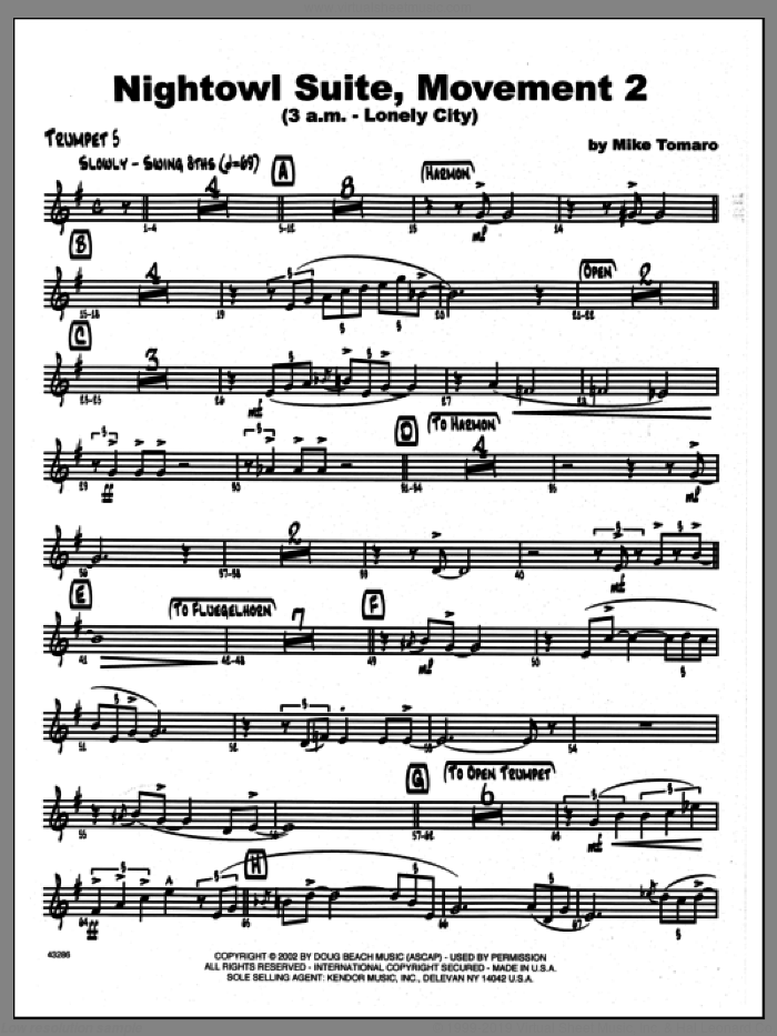 Nightowl Suite, Movement 2 (3 a.m., lonely city sheet music for jazz band (5th Bb trumpet) by Mike Tomaro. Score Image Preview.