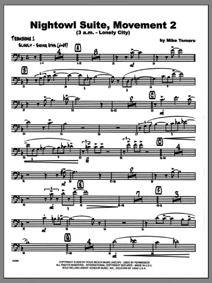 Nightowl Suite, Movement 2 (3 a.m., lonely city sheet music for jazz band (1st trombone) by Mike Tomaro, intermediate skill level
