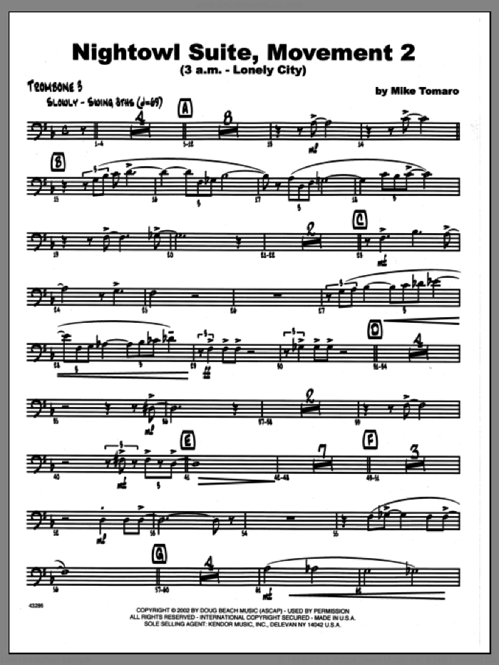 Nightowl Suite, Movement 2 (3 a.m., lonely city sheet music for jazz band (3rd trombone) by Mike Tomaro, intermediate