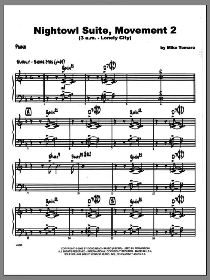 Nightowl Suite, Movement 2 (3 a.m., lonely city sheet music for jazz band (piano) by Mike Tomaro, intermediate skill level