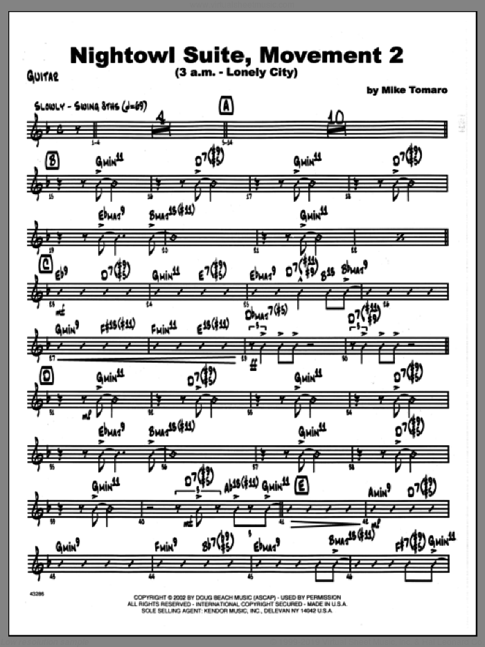 Nightowl Suite, Movement 2 (3 a.m., lonely city sheet music for jazz band (guitar) by Mike Tomaro, intermediate jazz band (guitar). Score Image Preview.